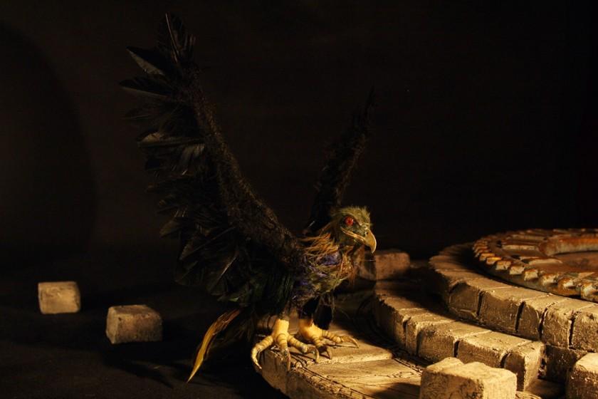 Stop Motion Bird; wire armature, epoxy bones, sculpey head.